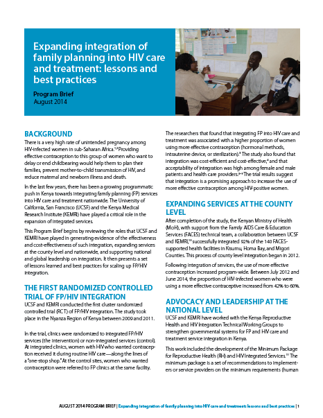 Expanding integration of family planning into HIV Best Practice