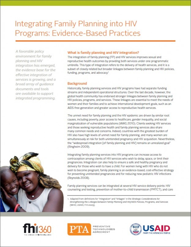 Evidence-based practices Integrating family planning into HIV programs